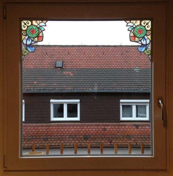 Fensterpanel Ecken Buntglasdekor Fantasy im klassizistischen Stil