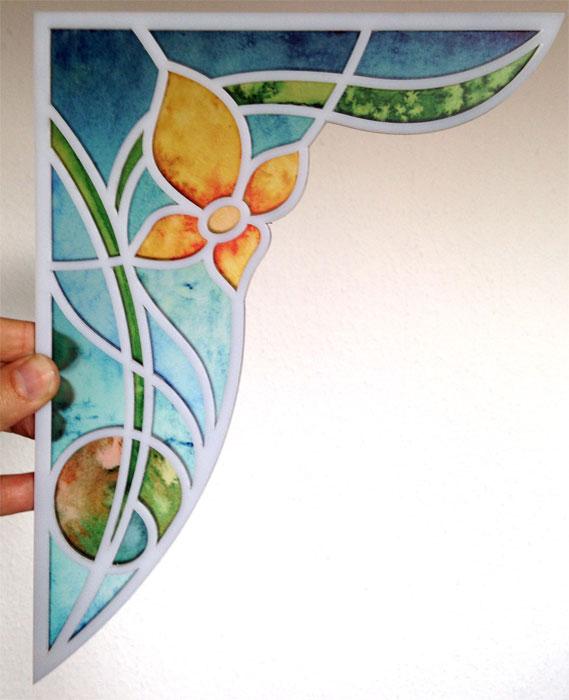 """Buntglasdekor Motiv """"Lilie"""" artdeco. Verarbeitet als Fensterpanel für Ihre Fensterecken"""