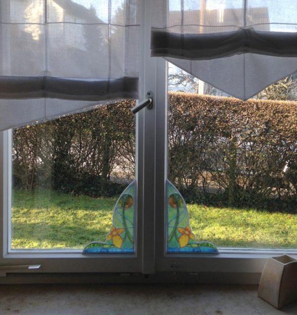 Fensterpanel Ecken Buntglasfenster im Jugendstil