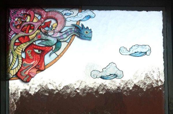 """Übertragunsfertiger Aufkleber """"Dragon"""" Fensterfolie, Buntglasfenster, Glasdekor"""