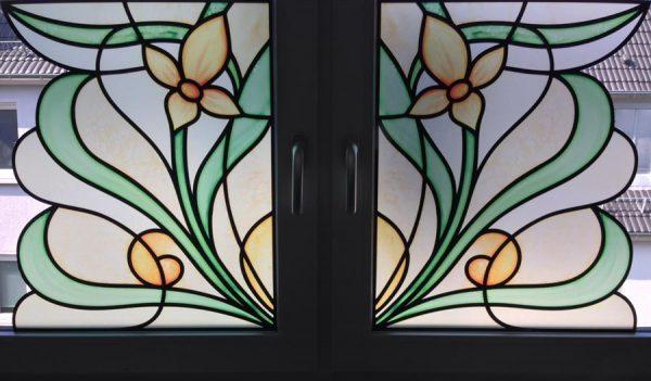 Fensterpanel Fensterdekor Sichtschutz Buntglas Dekoration