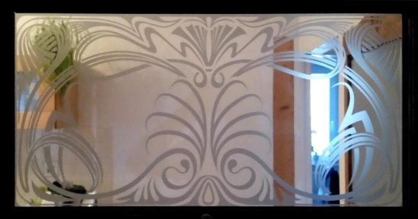 Jugendstil Fensterfolie, Glasdekorfolie als Sichtschutz für Oberlichter
