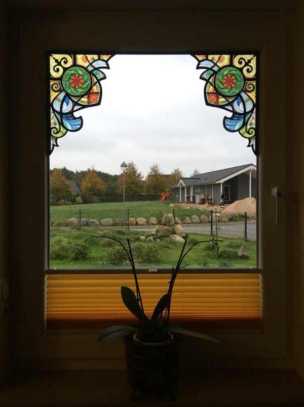 Fensterfolie Ecken Buntglasdekor Fantasy Ornament