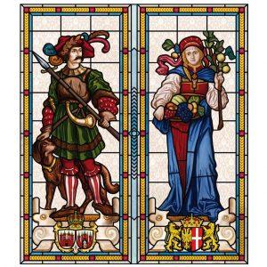 selbstklebende Buntglasfolie, bedruckte Sichtschutzfolie als Fensterdekor