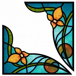 Fensterfoliendekor Fensterdekor Ecken Buntglasfenster