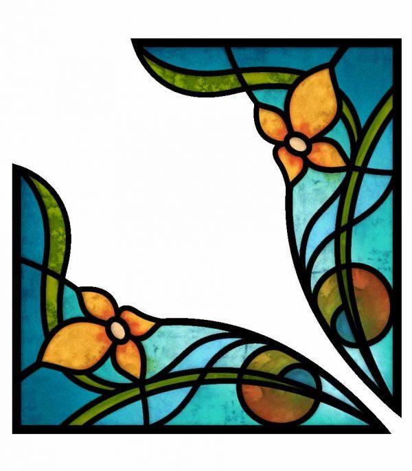 Fensterfolie Fensterdekor Ecken Buntglasfenster