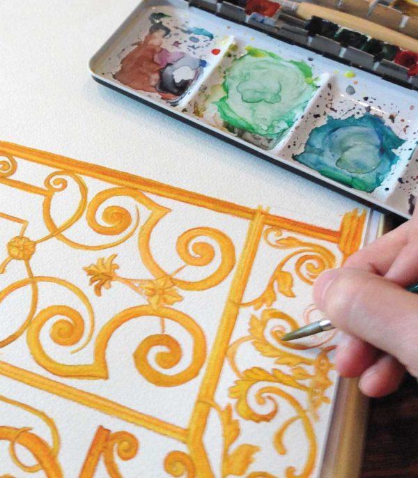 Dekor Motiv erstellen nach Vorlage für ein Motiv im Stil eines Buntglasdekors.