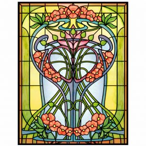 Buntglas Fensterfolie im floralen Jugendstil für Flügeltüren mittig teilbar