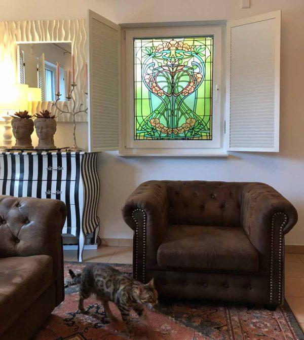 """Buntglas Fensterfolie im floralen Jugendstil """"Primaverde"""""""