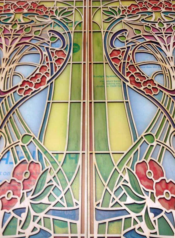 """Buntglasdekor Fensterpanel Premium mit Holzrelief """"Primaverde"""""""