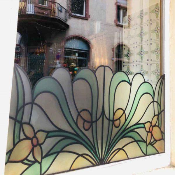 "Fensterfolie Motiv ""Fiore uno"" Jugendstil artdeco Buntglas Dekoration"