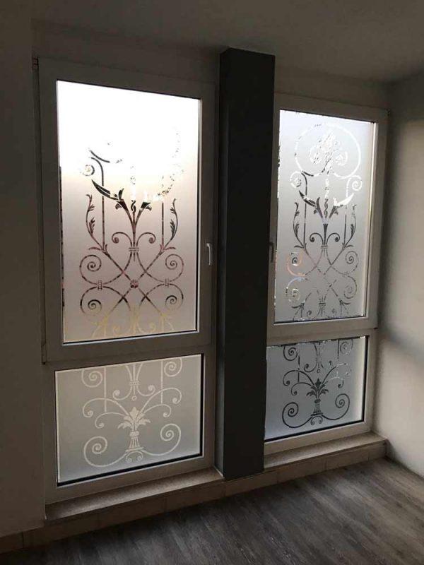 """Fensterfolie, Glasdekorfolie, Viktorianisch, Motiv """"Viticcio"""" zwei geteilt Sonderanfertigung"""